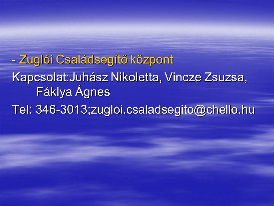 - Zuglói Családsegítő központ Kapcsolat:Juhász Nikoletta, Vincze Zsuzsa, Fáklya Ágnes Tel: 346-3013;zugloi.csaladsegito@chello.hu