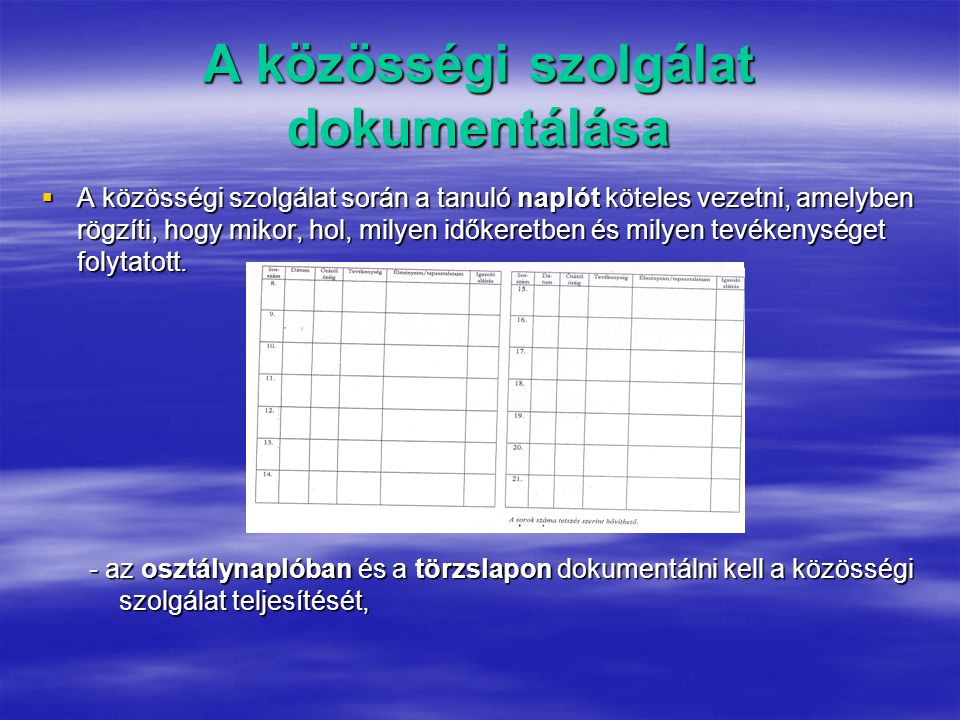 A közösségi szolgálat dokumentálása  A közösségi szolgálat során a tanuló naplót köteles vezetni, amelyben rögzíti, hogy mikor, hol, milyen időkeretben és milyen tevékenységet folytatott.