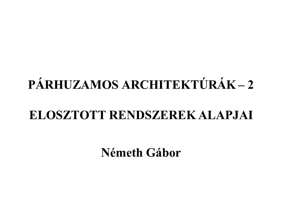 PÁRHUZAMOS ARCHITEKTÚRÁK – 2 ELOSZTOTT RENDSZEREK ALAPJAI Németh Gábor