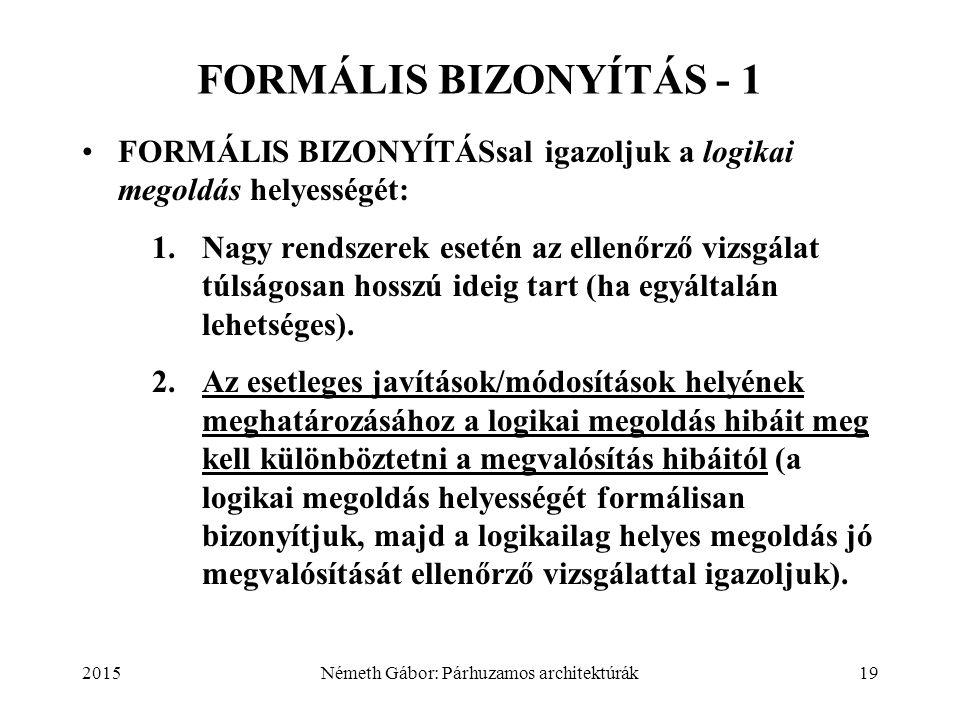 2015Németh Gábor: Párhuzamos architektúrák19 FORMÁLIS BIZONYÍTÁS - 1 FORMÁLIS BIZONYÍTÁSsal igazoljuk a logikai megoldás helyességét: 1.Nagy rendszere