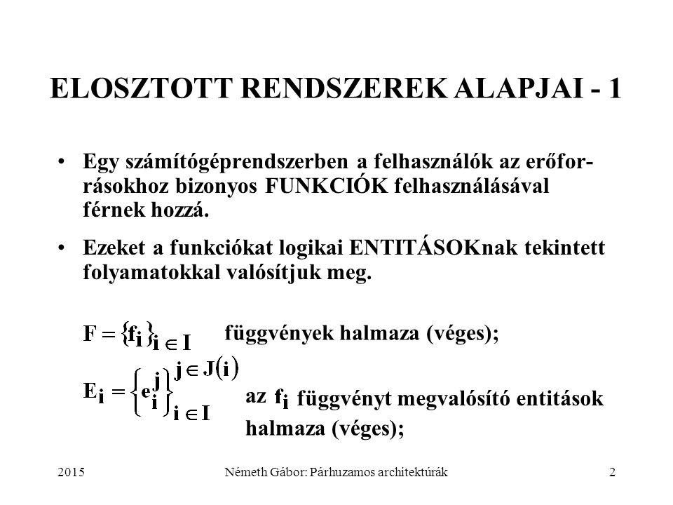 2015Németh Gábor: Párhuzamos architektúrák2 ELOSZTOTT RENDSZEREK ALAPJAI - 1 Egy számítógéprendszerben a felhasználók az erőfor- rásokhoz bizonyos FUN