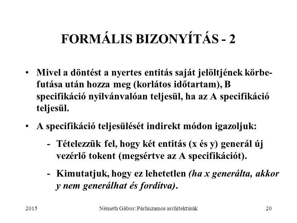 2015Németh Gábor: Párhuzamos architektúrák20 FORMÁLIS BIZONYÍTÁS - 2 Mivel a döntést a nyertes entitás saját jelöltjének körbe- futása után hozza meg