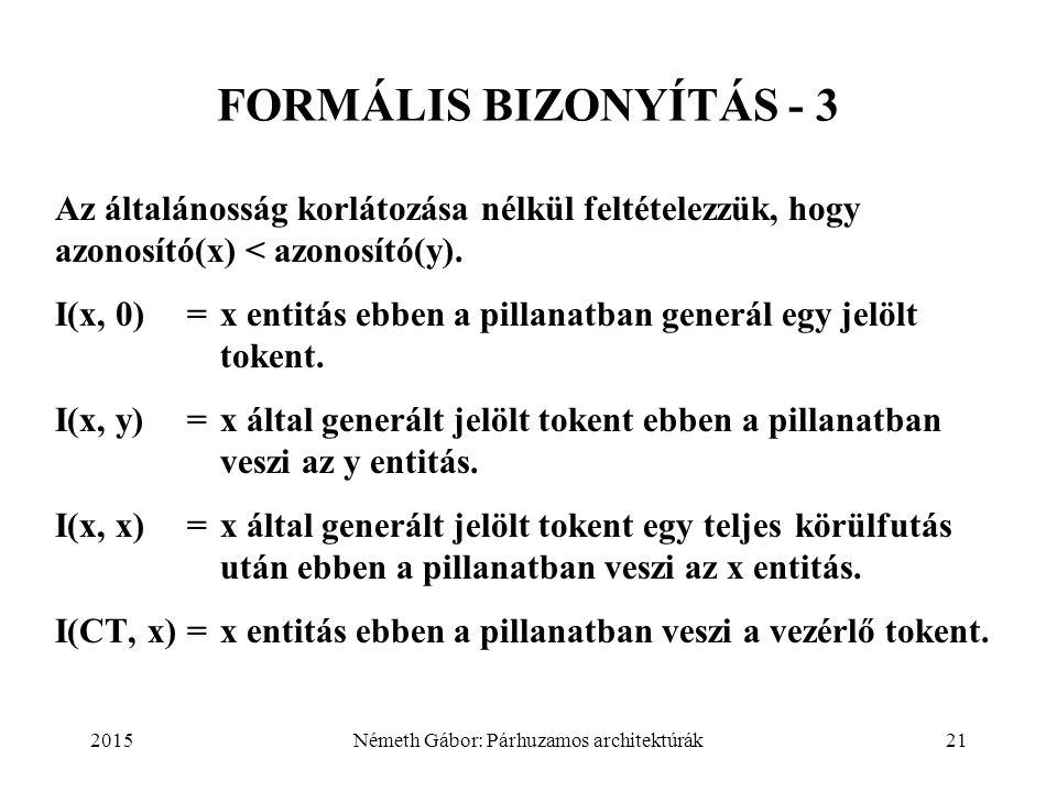 2015Németh Gábor: Párhuzamos architektúrák21 FORMÁLIS BIZONYÍTÁS - 3 Az általánosság korlátozása nélkül feltételezzük, hogy azonosító(x) < azonosító(y