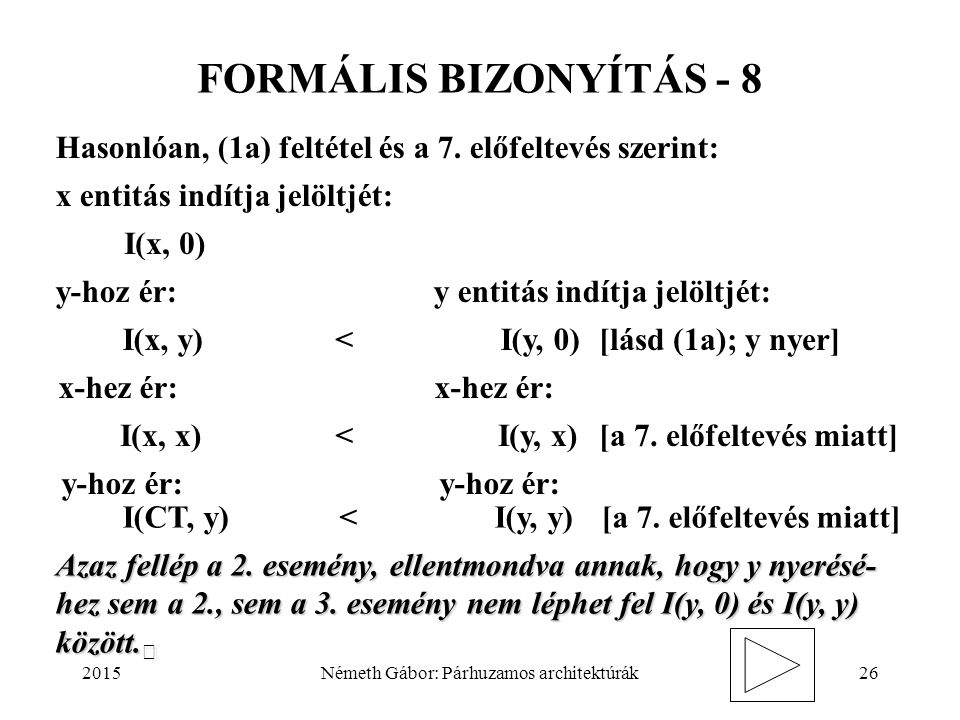 2015Németh Gábor: Párhuzamos architektúrák26 FORMÁLIS BIZONYÍTÁS - 8 Hasonlóan, (1a) feltétel és a 7. előfeltevés szerint: x entitás indítja jelöltjét
