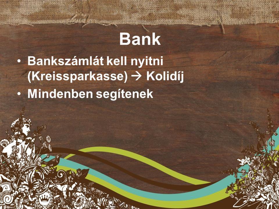 Bank Bankszámlát kell nyitni (Kreissparkasse)  Kolidíj Mindenben segítenek