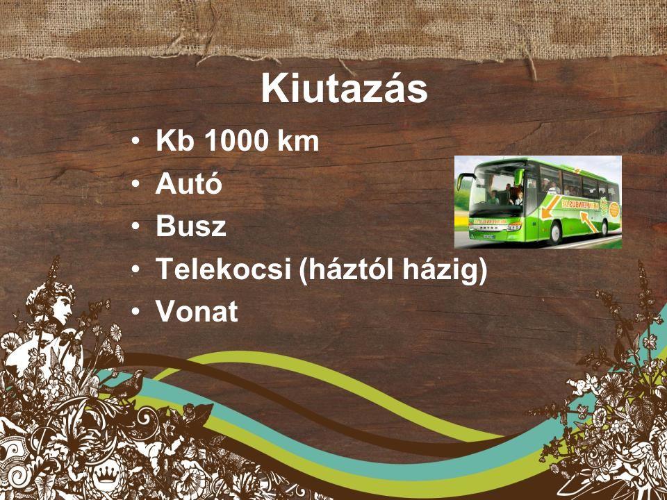 Kiutazás Kb 1000 km Autó Busz Telekocsi (háztól házig) Vonat