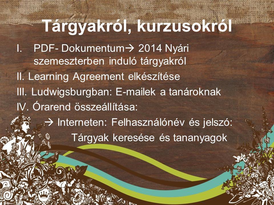 Tárgyakról, kurzusokról I.PDF- Dokumentum  2014 Nyári szemeszterben induló tárgyakról II.