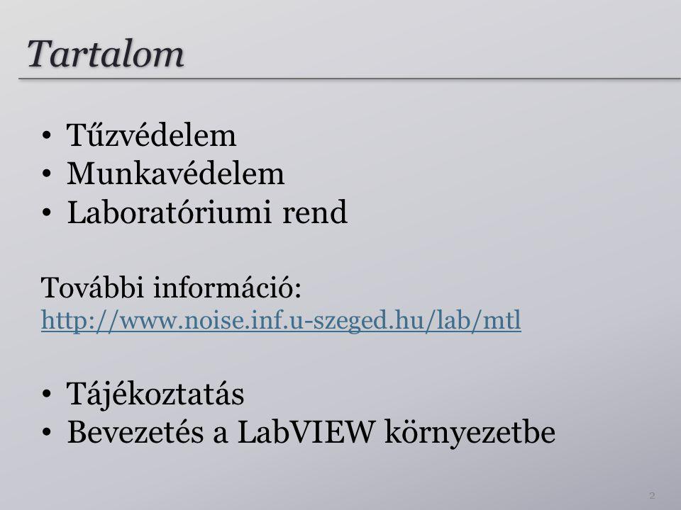 Tartalom Tűzvédelem Munkavédelem Laboratóriumi rend További információ: http://www.noise.inf.u-szeged.hu/lab/mtl Tájékoztatás Bevezetés a LabVIEW környezetbe 2