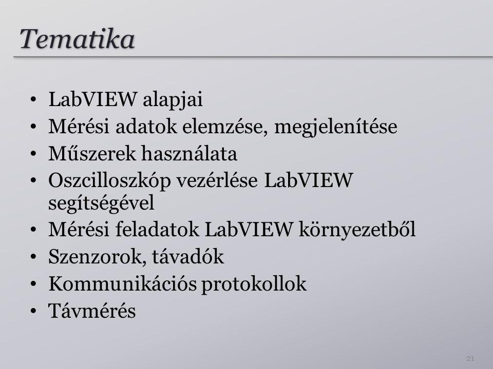 Tematika LabVIEW alapjai Mérési adatok elemzése, megjelenítése Műszerek használata Oszcilloszkóp vezérlése LabVIEW segítségével Mérési feladatok LabVIEW környezetből Szenzorok, távadók Kommunikációs protokollok Távmérés 21