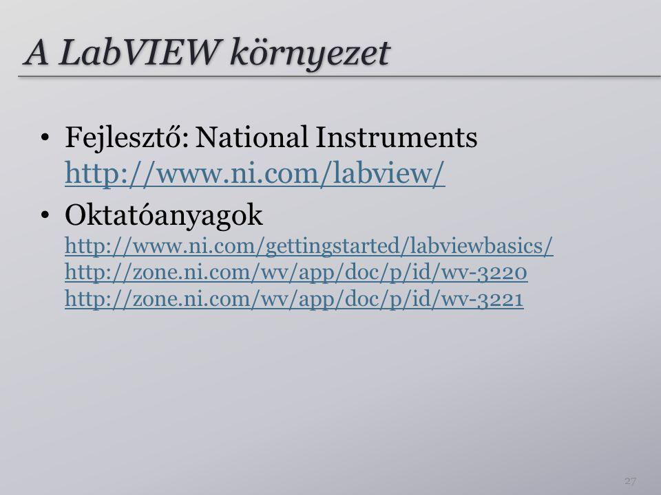 A LabVIEW környezet Fejlesztő: National Instruments http://www.ni.com/labview/ http://www.ni.com/labview/ Oktatóanyagok http://www.ni.com/gettingstarted/labviewbasics/ http://zone.ni.com/wv/app/doc/p/id/wv-3220 http://zone.ni.com/wv/app/doc/p/id/wv-3221 http://www.ni.com/gettingstarted/labviewbasics/ http://zone.ni.com/wv/app/doc/p/id/wv-3220 http://zone.ni.com/wv/app/doc/p/id/wv-3221 27