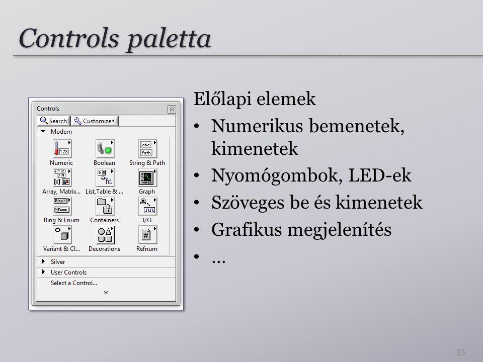 Controls paletta Előlapi elemek Numerikus bemenetek, kimenetek Nyomógombok, LED-ek Szöveges be és kimenetek Grafikus megjelenítés … 35