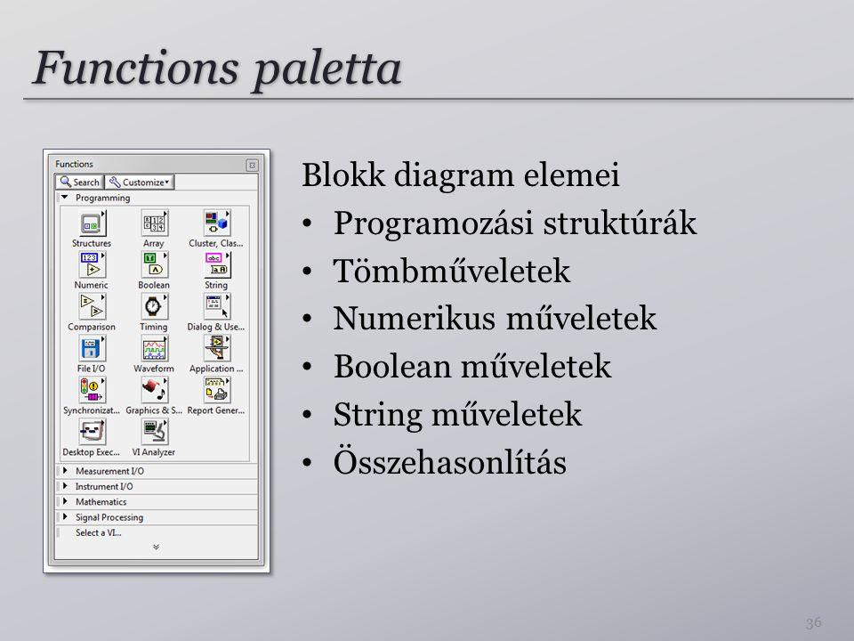 Functions paletta Blokk diagram elemei Programozási struktúrák Tömbműveletek Numerikus műveletek Boolean műveletek String műveletek Összehasonlítás 36