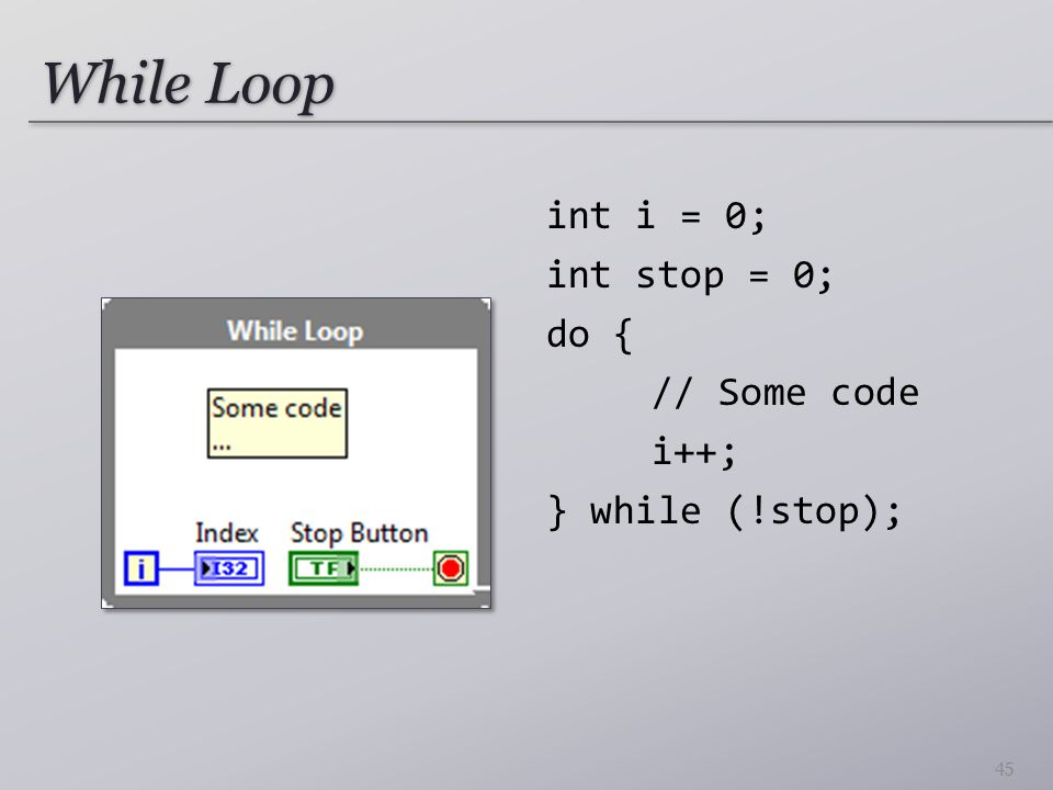 While Loop int i = 0; int stop = 0; do { // Some code i++; } while (!stop); 45