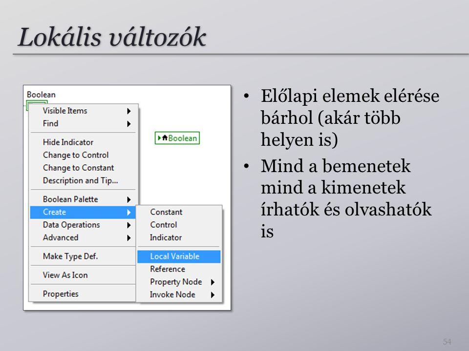 Lokális változók Előlapi elemek elérése bárhol (akár több helyen is) Mind a bemenetek mind a kimenetek írhatók és olvashatók is 54
