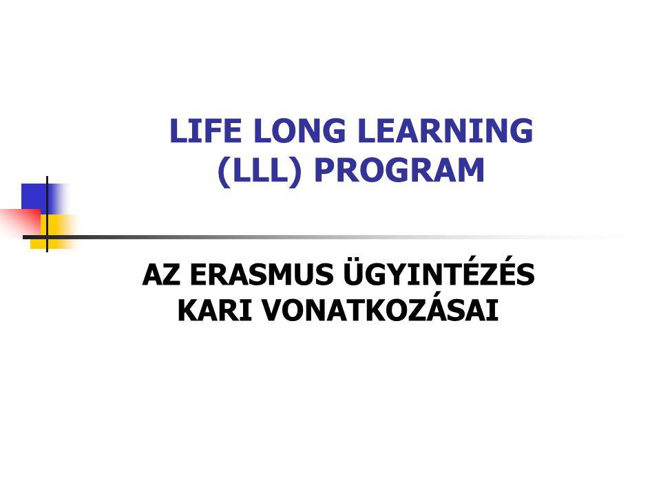 LIFE LONG LEARNING (LLL) PROGRAM AZ ERASMUS ÜGYINTÉZÉS KARI VONATKOZÁSAI