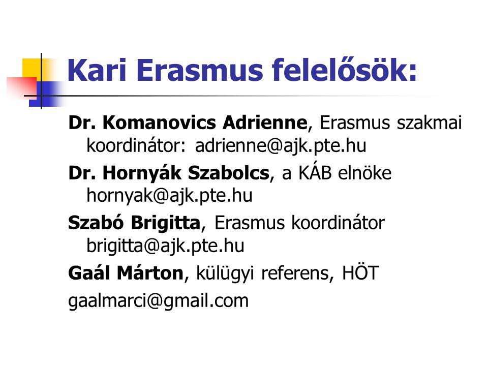 Kari Erasmus felelősök: Dr.