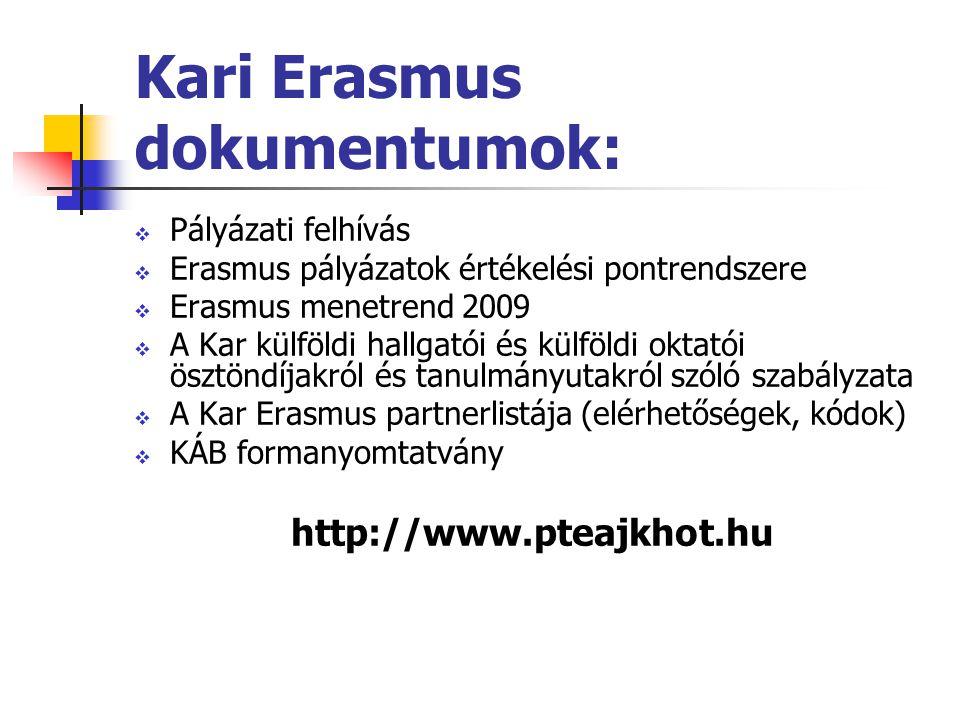  Pályázati felhívás  Erasmus pályázatok értékelési pontrendszere  Erasmus menetrend 2009  A Kar külföldi hallgatói és külföldi oktatói ösztöndíjakról és tanulmányutakról szóló szabályzata  A Kar Erasmus partnerlistája (elérhetőségek, kódok)  KÁB formanyomtatvány http://www.pteajkhot.hu Kari Erasmus dokumentumok: