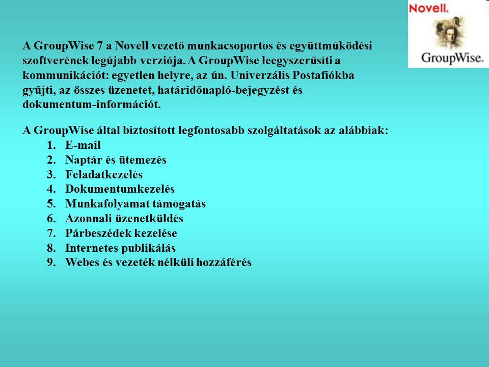 A GroupWise 7 a Novell vezető munkacsoportos és együttműködési szoftverének legújabb verziója. A GroupWise leegyszerűsíti a kommunikációt: egyetlen he