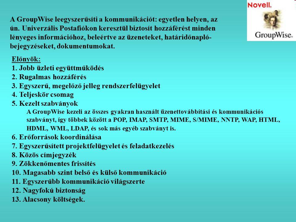 Előnyök: 1. Jobb üzleti együttműködés 2. Rugalmas hozzáférés 3. Egyszerű, megelőző jelleg rendszerfelügyelet 4. Teljeskör csomag 5. Kezelt szabványok
