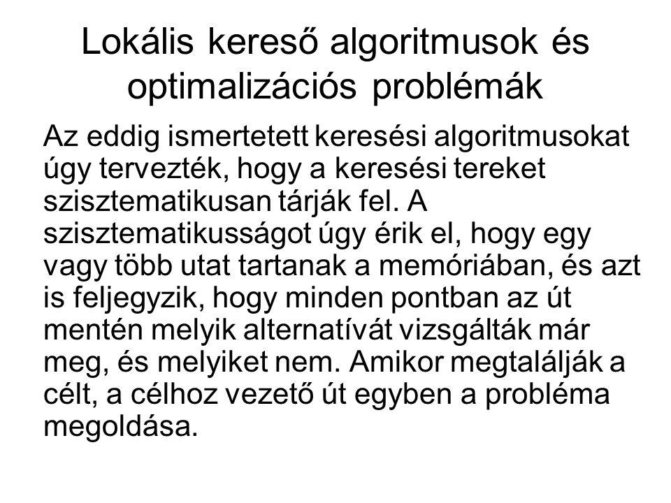 Lokális kereső algoritmusok és optimalizációs problémák Az eddig ismertetett keresési algoritmusokat úgy tervezték, hogy a keresési tereket szisztematikusan tárják fel.