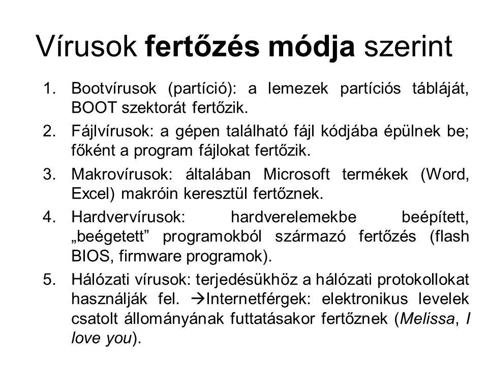 Vírusok fertőzés módja szerint 1.Bootvírusok (partíció): a lemezek partíciós tábláját, BOOT szektorát fertőzik. 2.Fájlvírusok: a gépen található fájl
