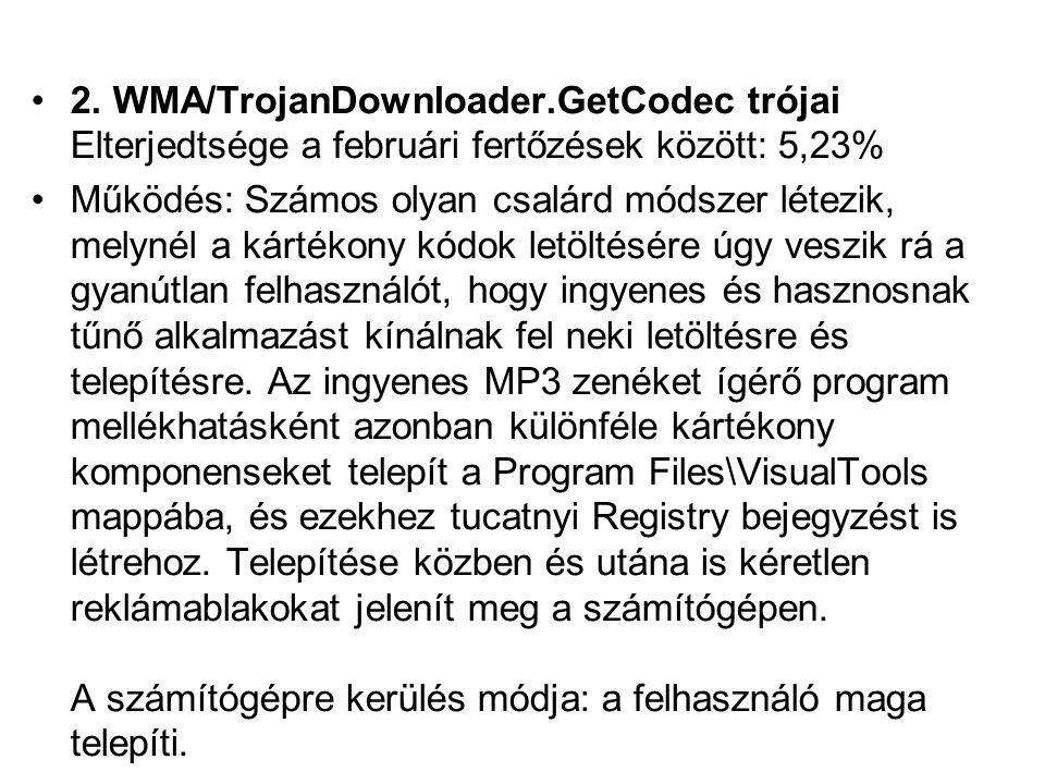 2. WMA/TrojanDownloader.GetCodec trójai Elterjedtsége a februári fertőzések között: 5,23% Működés: Számos olyan csalárd módszer létezik, melynél a kár