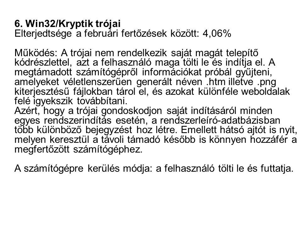 6. Win32/Kryptik trójai Elterjedtsége a februári fertőzések között: 4,06% Működés: A trójai nem rendelkezik saját magát telepítő kódrészlettel, azt a