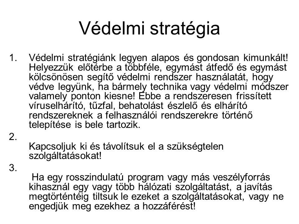 Védelmi stratégia 1.Védelmi stratégiánk legyen alapos és gondosan kimunkált! Helyezzük előtérbe a többféle, egymást átfedő és egymást kölcsönösen segí
