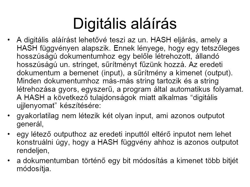 Digitális aláírás A digitális aláírást lehetővé teszi az un. HASH eljárás, amely a HASH függvényen alapszik. Ennek lényege, hogy egy tetszőleges hossz