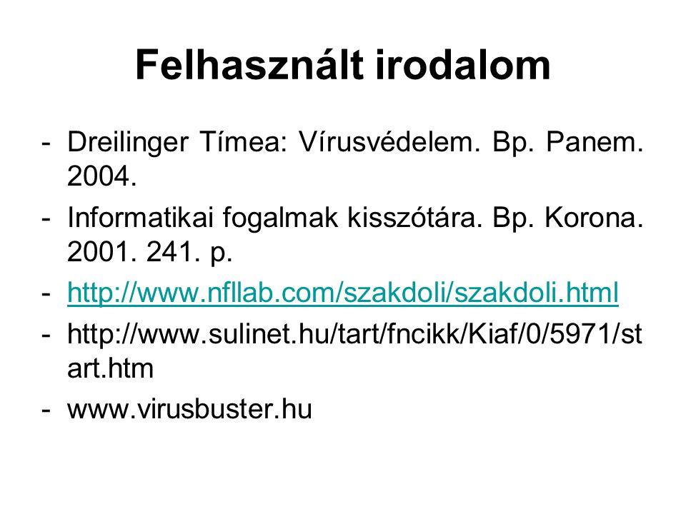 Felhasznált irodalom -Dreilinger Tímea: Vírusvédelem. Bp. Panem. 2004. -Informatikai fogalmak kisszótára. Bp. Korona. 2001. 241. p. -http://www.nfllab