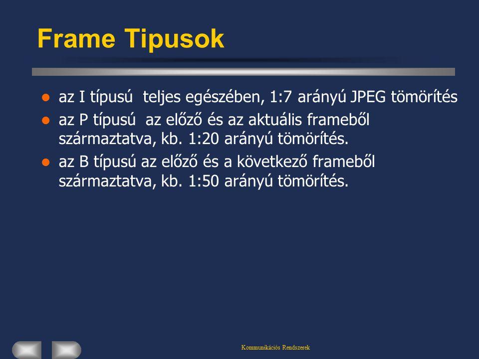 Kommunikációs Rendszerek Frame Tipusok az I típusú teljes egészében, 1:7 arányú JPEG tömörítés az P típusú az előző és az aktuális frameből származtatva, kb.