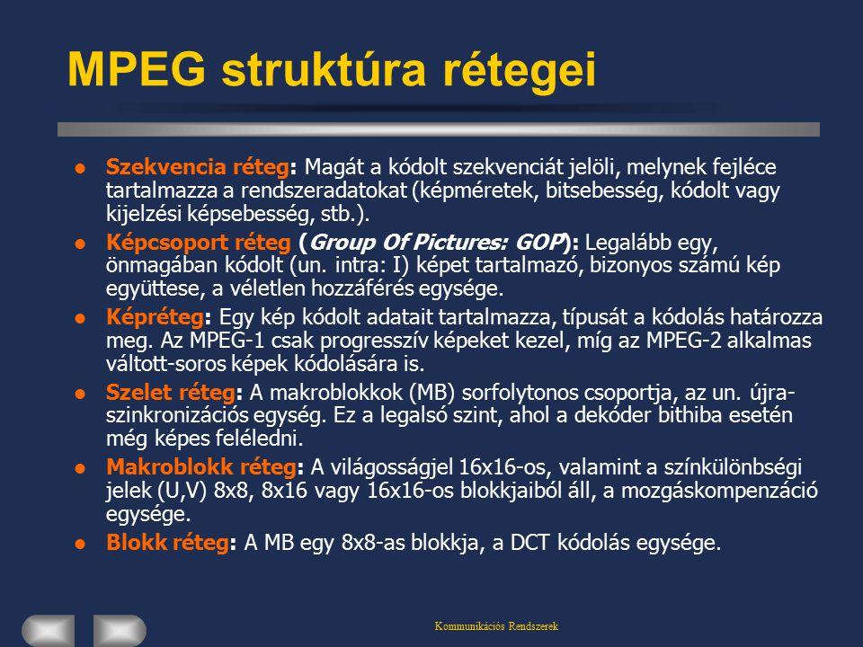 Kommunikációs Rendszerek MPEG struktúra rétegei Szekvencia réteg: Magát a kódolt szekvenciát jelöli, melynek fejléce tartalmazza a rendszeradatokat (képméretek, bitsebesség, kódolt vagy kijelzési képsebesség, stb.).