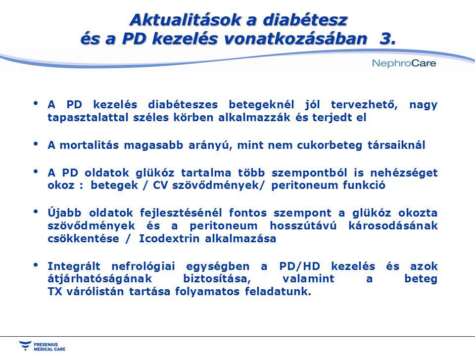 Aktualitások a diabétesz és a PD kezelés vonatkozásában 3. A PD kezelés diabéteszes betegeknél jól tervezhető, nagy tapasztalattal széles körben alkal