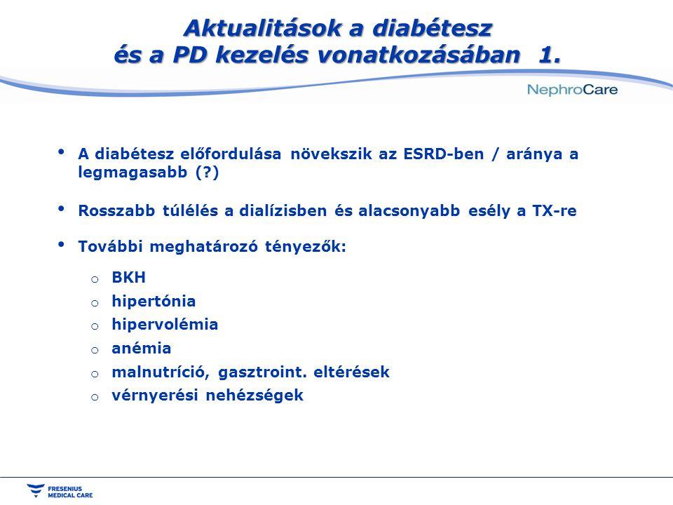 Aktualitások a diabétesz és a PD kezelés vonatkozásában 1. A diabétesz előfordulása növekszik az ESRD-ben / aránya a legmagasabb (?) Rosszabb túlélés
