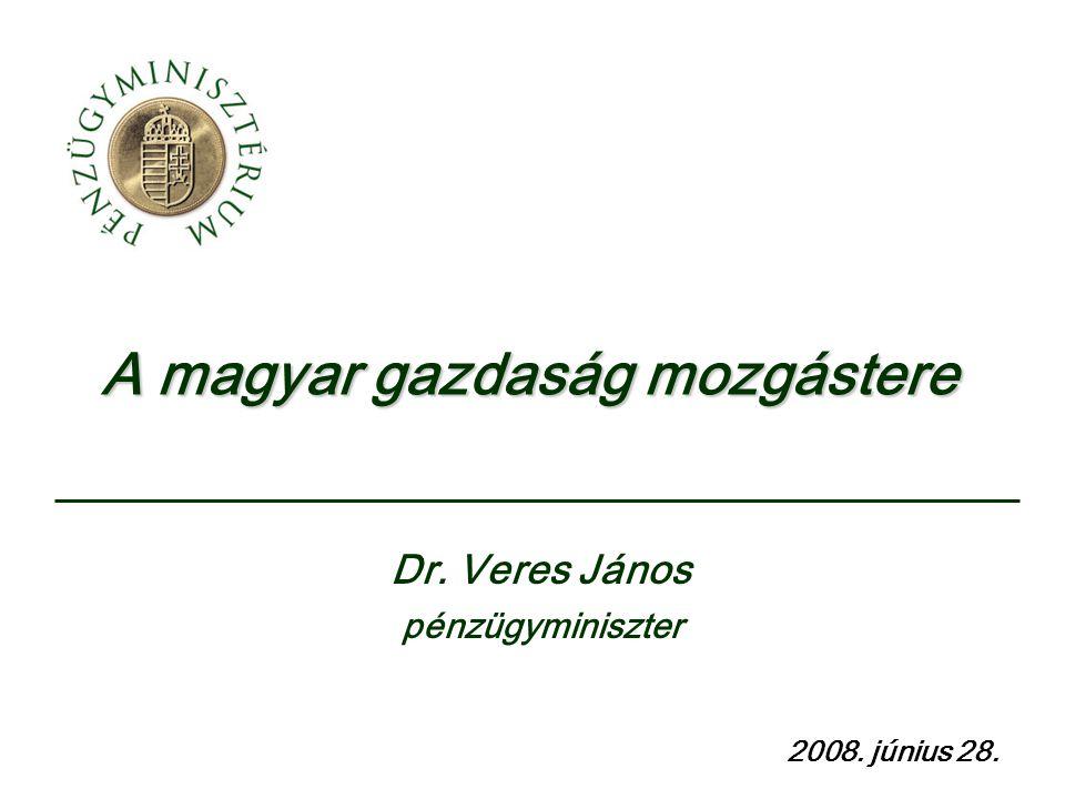A magyar gazdaság mozgástere 2008. június 28. Dr. Veres János pénzügyminiszter