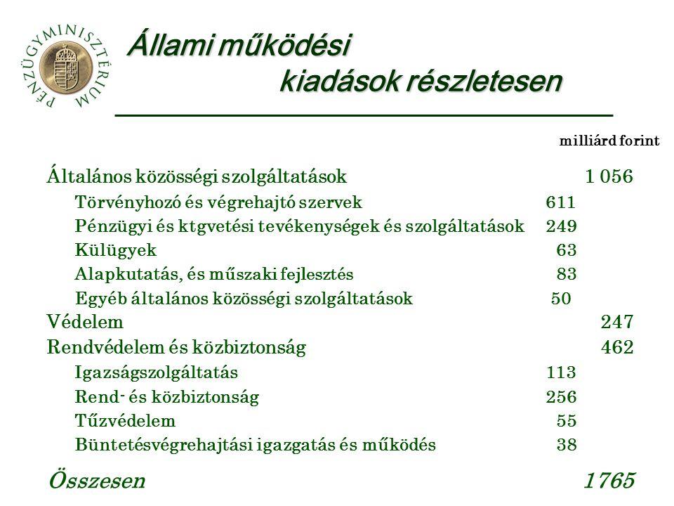 Állami működési kiadások részletesen Általános közösségi szolgáltatások1 056 Törvényhozó és végrehajtó szervek611 Pénzügyi és ktgvetési tevékenységek és szolgáltatások249 Külügyek 63 Alapkutatás, és m űszaki fejlesztés 83 Egyéb általános közösségi szolgáltatások 50 Védelem247 Rendvédelem és közbiztonság462 Igazságszolgáltatás113 Rend- és közbiztonság256 Tűzvédelem 55 Büntetésvégrehajtási igazgatás és működés 38 Összesen1765 milliárd forint