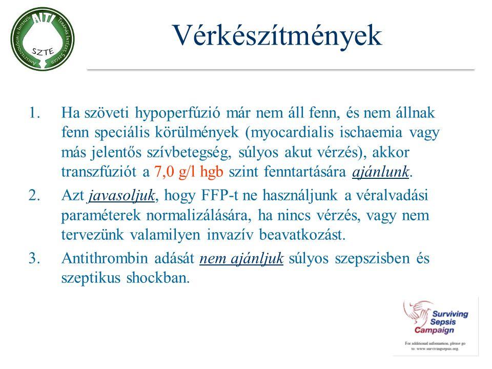 Vérkészítmények 1.Ha szöveti hypoperfúzió már nem áll fenn, és nem állnak fenn speciális körülmények (myocardialis ischaemia vagy más jelentős szívbet