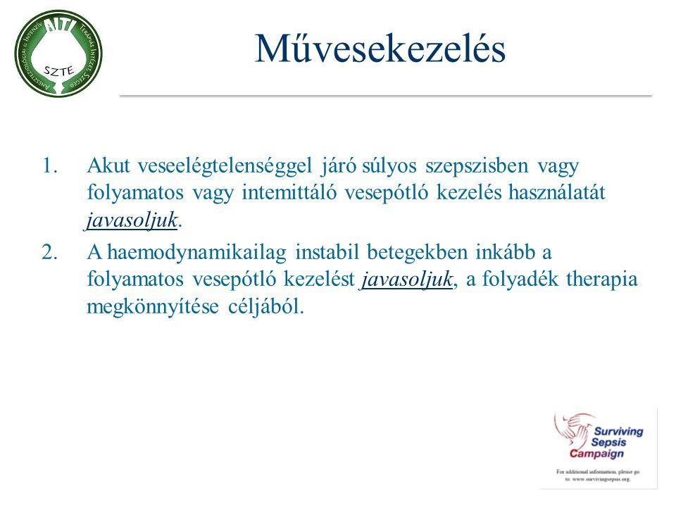 Művesekezelés 1.Akut veseelégtelenséggel járó súlyos szepszisben vagy folyamatos vagy intemittáló vesepótló kezelés használatát javasoljuk. 2.A haemod