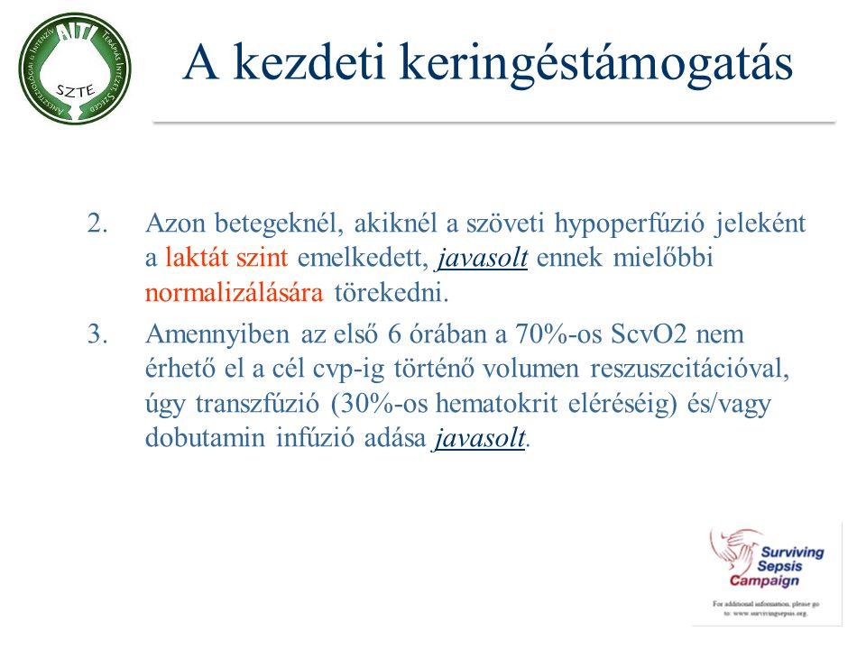 A kezdeti keringéstámogatás 2.Azon betegeknél, akiknél a szöveti hypoperfúzió jeleként a laktát szint emelkedett, javasolt ennek mielőbbi normalizálás