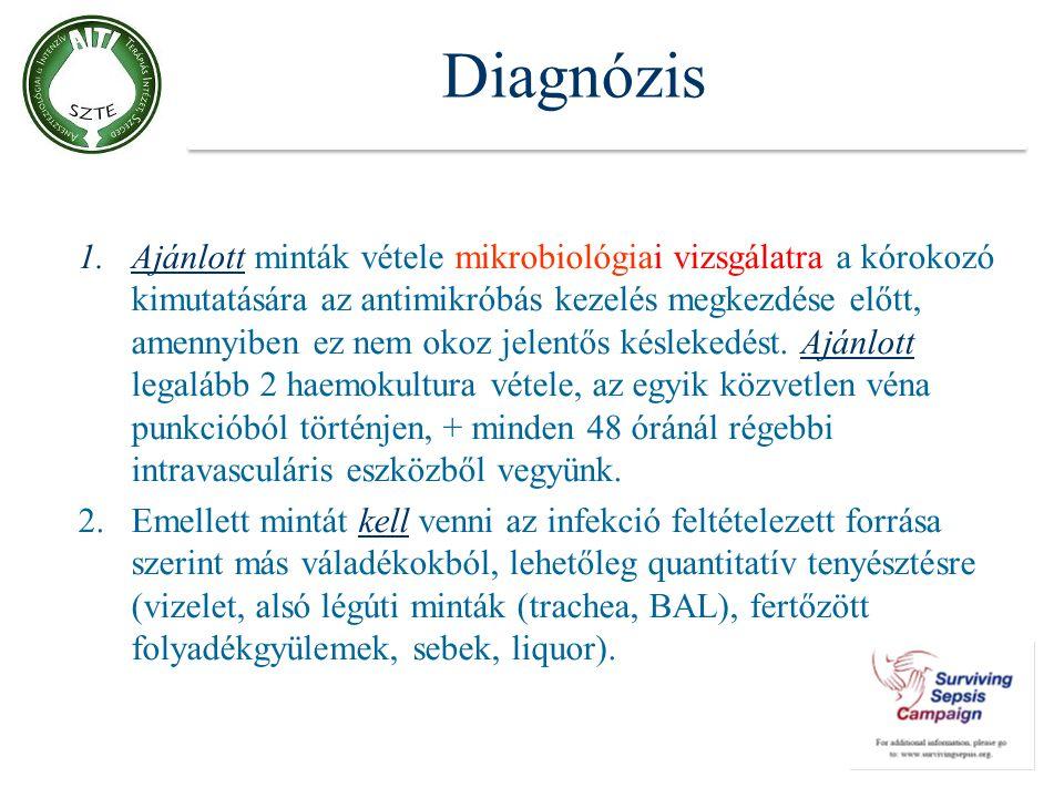 Diagnózis 1.Ajánlott minták vétele mikrobiológiai vizsgálatra a kórokozó kimutatására az antimikróbás kezelés megkezdése előtt, amennyiben ez nem okoz