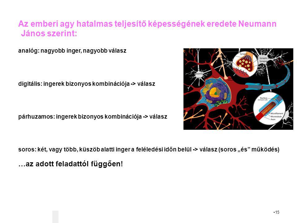 """15 Az emberi agy hatalmas teljesítő képességének eredete Neumann János szerint: analóg: nagyobb inger, nagyobb válasz digitális: ingerek bizonyos kombinációja -> válasz párhuzamos: ingerek bizonyos kombinációja -> válasz soros: két, vagy több, küszöb alatti inger a feléledési időn belül -> válasz (soros """"és működés) …az adott feladattól függően!"""