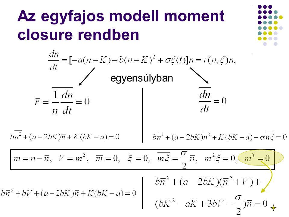 Az egyfajos modell moment closure rendben egyensúlyban