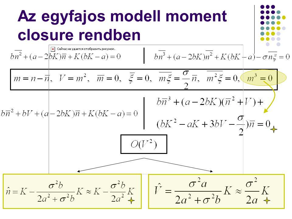 Az egyfajos modell moment closure rendben