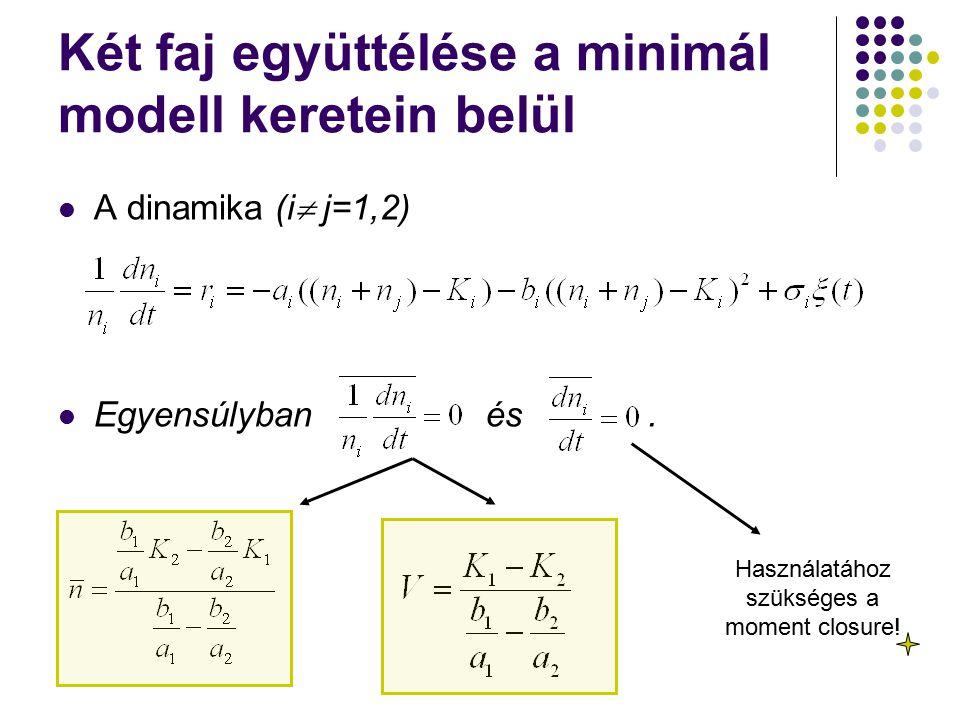 A dinamika (i  j=1,2) Egyensúlyban és. Használatához szükséges a moment closure!
