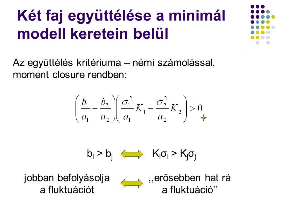Két faj együttélése a minimál modell keretein belül b i > b j K i σ i > K j σ j Az együttélés kritériuma – némi számolással, moment closure rendben: j