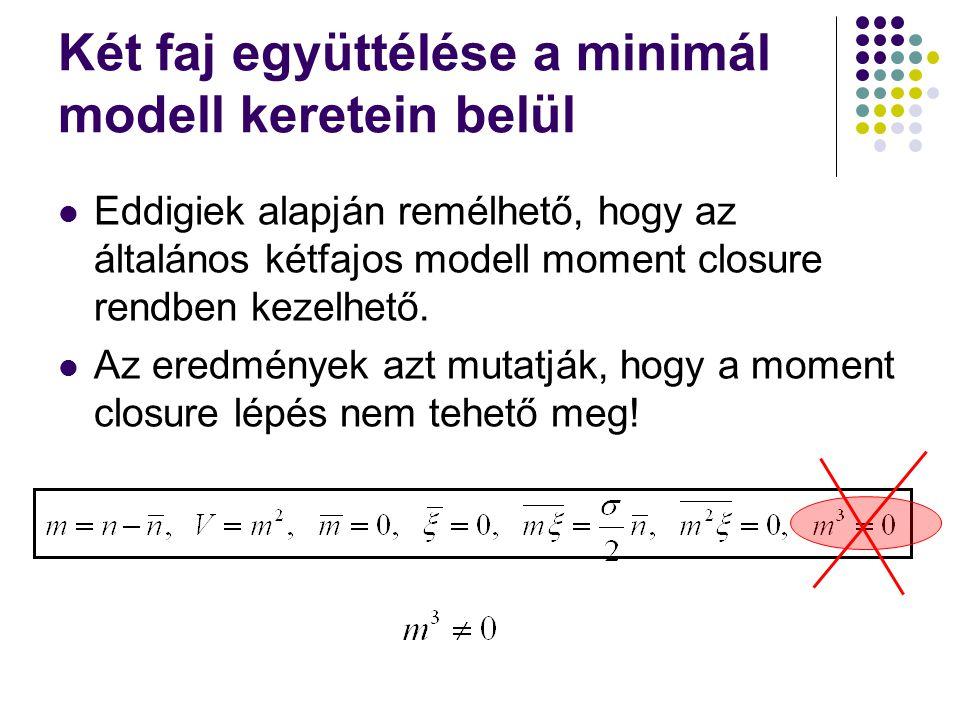 Két faj együttélése a minimál modell keretein belül Eddigiek alapján remélhető, hogy az általános kétfajos modell moment closure rendben kezelhető. Az