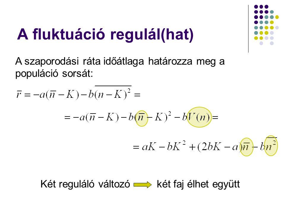 A fluktuáció regulál(hat) A fenti modell általánosítása D reguláló változóra: D reguláló tényéző (D=1: átlag; D=2: szórás D>=3: magasabb mom.-ok) Elvileg D faj élhet együtt (Problematikus a strukturális stabilitás kérdése!)