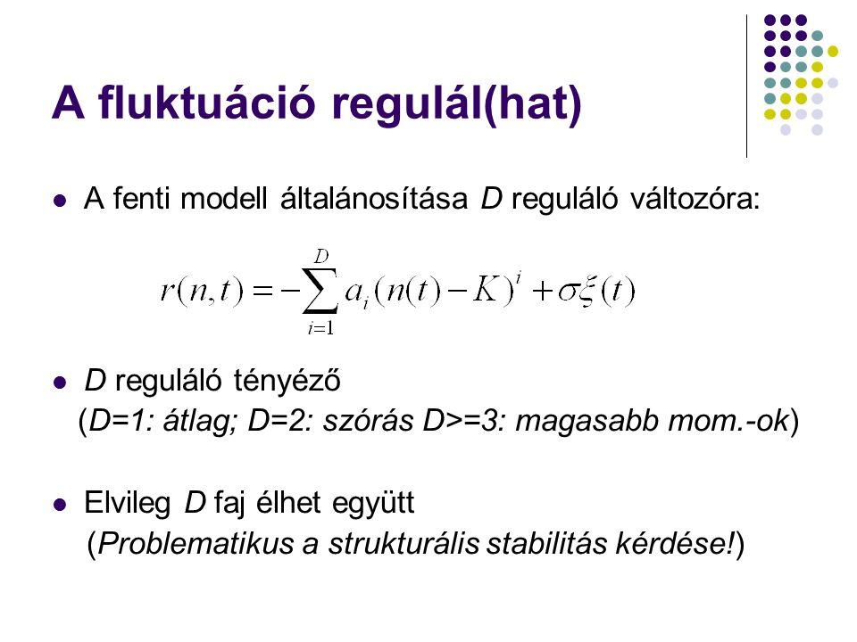 A fluktuáció regulál(hat) A fenti modell általánosítása D reguláló változóra: D reguláló tényéző (D=1: átlag; D=2: szórás D>=3: magasabb mom.-ok) Elvi