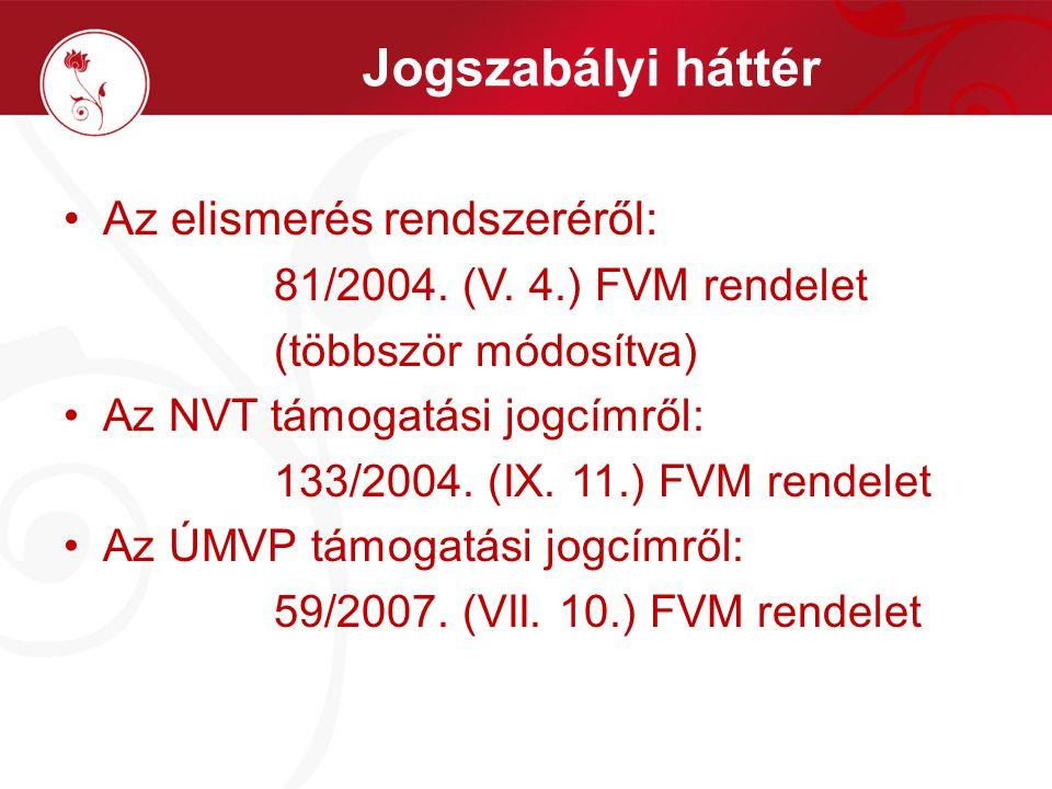 Jogszabályi háttér Az elismerés rendszeréről: 81/2004. (V. 4.) FVM rendelet (többször módosítva) Az NVT támogatási jogcímről: 133/2004. (IX. 11.) FVM