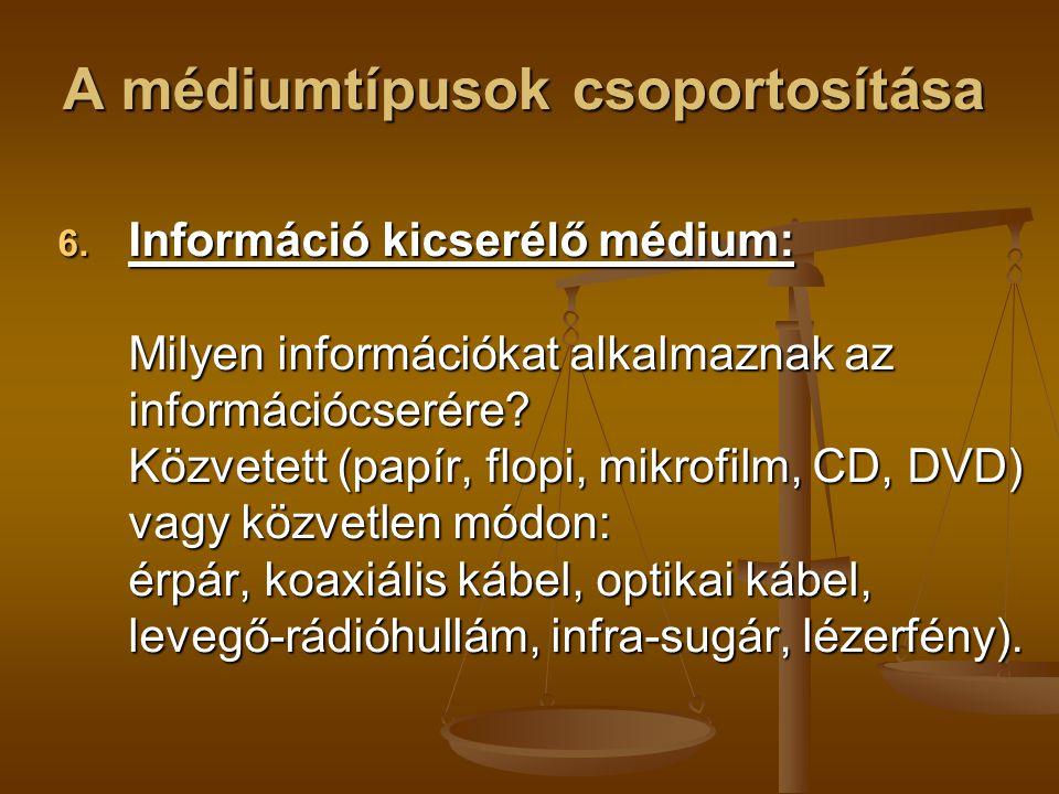 A médiumtípusok csoportosítása 6. Információ kicserélő médium: Milyen információkat alkalmaznak az információcserére? Közvetett (papír, flopi, mikrofi
